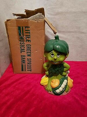 VTG Little Green Sprout Musical Bank Green Giant 1985
