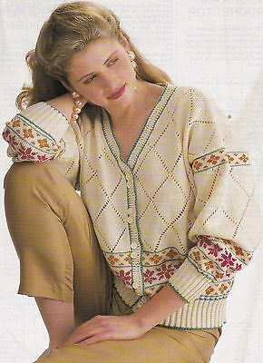 Lace & Flowers Cardigan Pattern For Machine Knitting