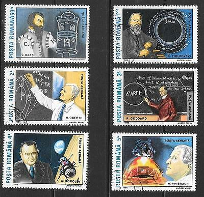 1989 Romania Space Pioneers full set of 6 stamps that are cancelled to order