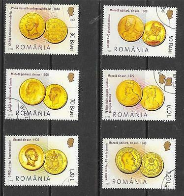 2006 Romania Gold Coins full set of 6 stamps that are cancelled to order