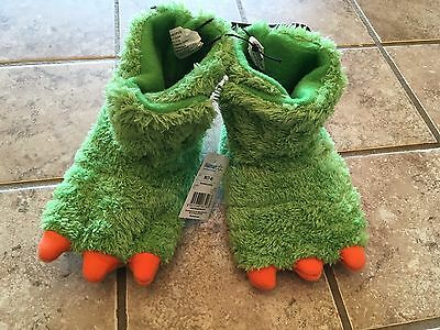 Dinosaur Feet NWT Green Slippers Medium 7/8 Toddler New With Tags