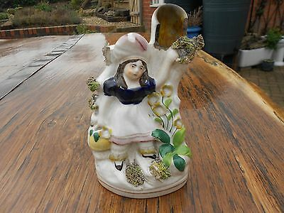 """Vintage Staffordshire Spill Vase Girl with Flowers a/f 6"""" tall"""