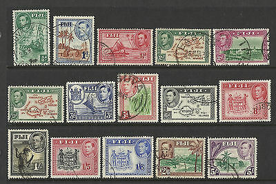Fiji - 15 stamps - KGVI stamps - values up to 5s - 1938-50 - used
