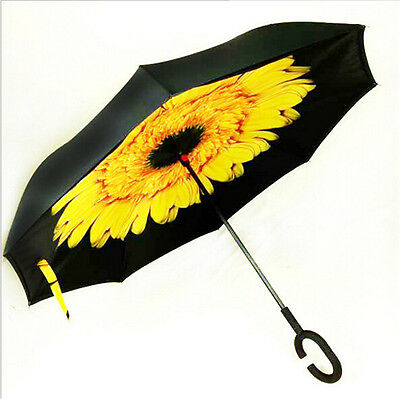 Windproof C-Handle Reverse Double Layer Upside Down Inverted Umbrella Sunflower