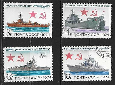 1974 Russia History of the Russian Navy full set of 4 stamps that are CTO