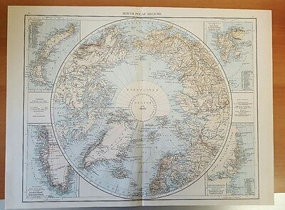 Antique 1895 Map Print of NORTH Pole POLAR REGIONS  Genuine Times World Atlas