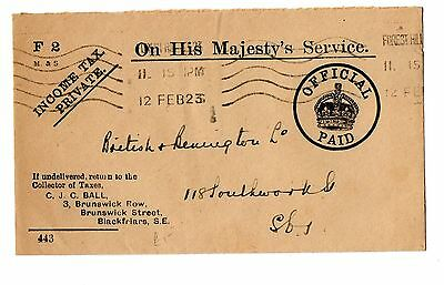 OHMS envelope Income Tax Private Official Paid - used 1923