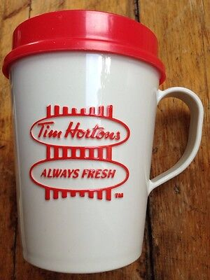 "Vintage Tim Hortons "" Always Fresh"" Red/White Travel Mug Excellent Condition"