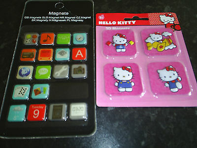 Magnets 2 packs 1mixed 18 and 1 Hello Kitty 4 new