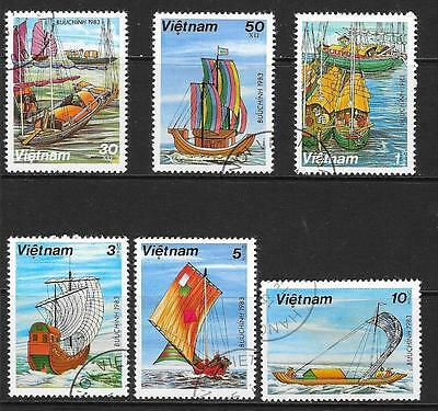 1983 Vietnam Boats full set of 6 stamps that are cancelled to order
