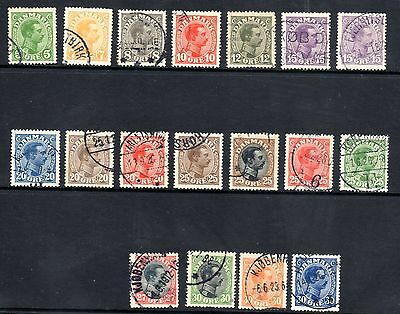 DENMARK STAMPS- King Christian X 5ore to 30ore, 1913-1926, (#)