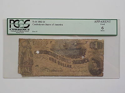 1862 T-44 Confederate States of America $1 One Dollar Bill Currency Note PCGS 6