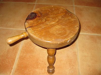 VINTAGE 3 Legged Wooden MILKING STOOL with  HANDLE