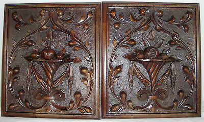 pair of  Antique  french wood panel oak