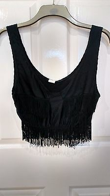 Black Belly Dance Fringe Cropped Stretch Sleeveless Top 12/14 - Vgc