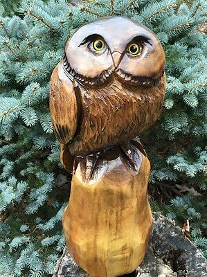 CHAINSAW CARVED OWL WOOD CARVING BLACK WALNUT WOOD RUSTIC Cabin DECOR