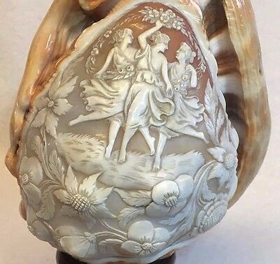 Vintage Hand Carved Three Graces Shell Cameo Lamp Nightlight Sculpture Wood Base