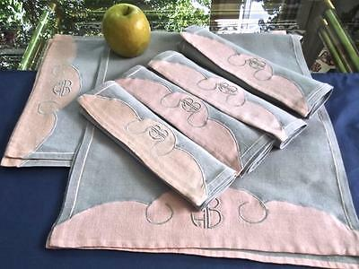 """Vintage Madeira Gray & Dusty Pink Linen 4 Placemats 4 Lapkins Runner Mono """"MHB"""""""