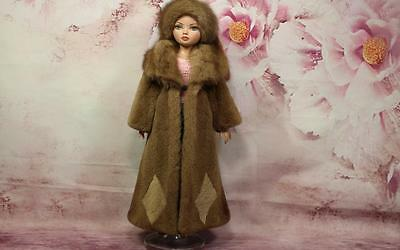 ~Long Pastel Sheared Mink Fur Coat and Hat for Ellowyne Wilde dolls~dimitha~