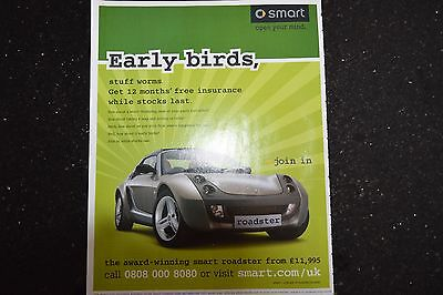 Smart Roadster 2004 Original A4 Size Advertisements x 2 Ready to Frame