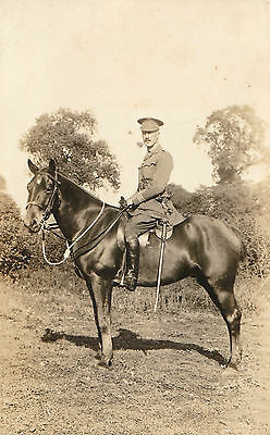 military officer on horseback, named, circa First World War old photograph RPPC