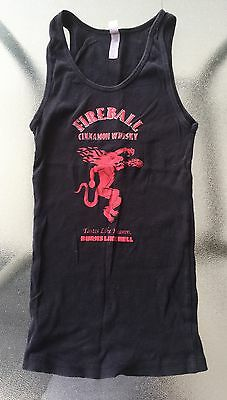 Womens Small Fireball Cinnamon Whisky Tank Top Size M Black Ribbed