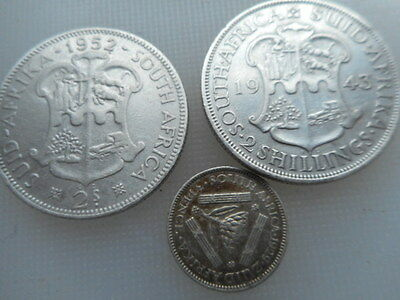 1943/52/29 south africa silver 2 shillings/3d