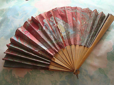 Antique Rare Excuisite French Hand Fan Painted Silk Wood Sticks Collector damage