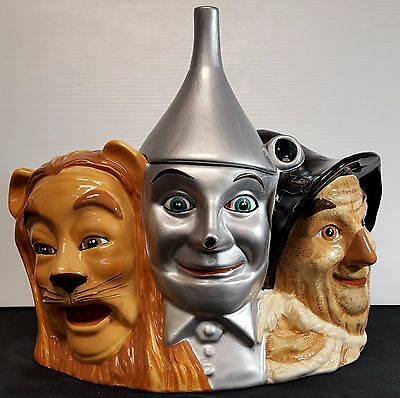 Wizard Of Oz Ceramic Cookie Jar Cowardly Lion, Tin Man Scare Crow DISPLAYED ONLY