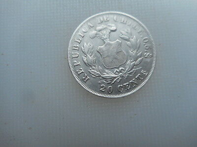 1891 chile silver 20 cents. better grade