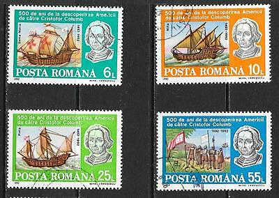 1992 Romania 500th Anniv. Discovery of America full set of 4 stamps that are CT