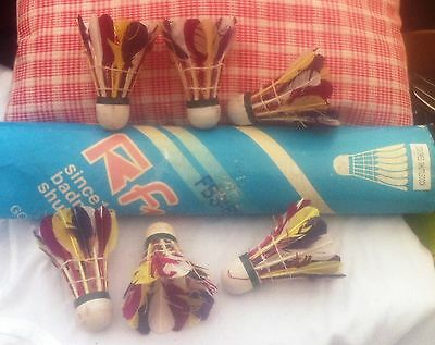 Box of 6 coloured goose feather shuttlecocks
