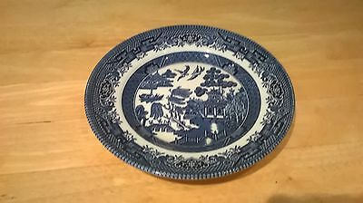 Churchill blue and white willow pattern side plate