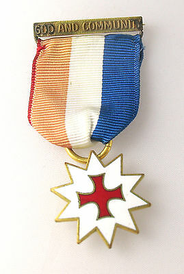 Catholic Girl Scout Medal GOD & COMMUNITY on Ribbon, GIFT Collector PIN Reduced