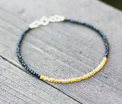 Natural Padparadscha Sapphire and Black Spinel Bracelet in Solid 14K Yellow Gold