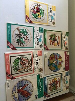 Lot of 7 Plaid Gallery Glass Window Patterns  Painting Birds Parrot Macaws