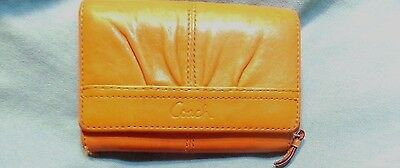 Coach goldenrod wallet Leather zipper snap closure womens + free accessories lot