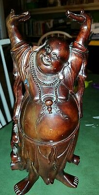 """Chinese antique carved solid wood lucky Buddha statue,  12""""  hands empty as is"""
