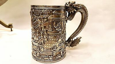 Antique Chinese Silver Serpent Mug