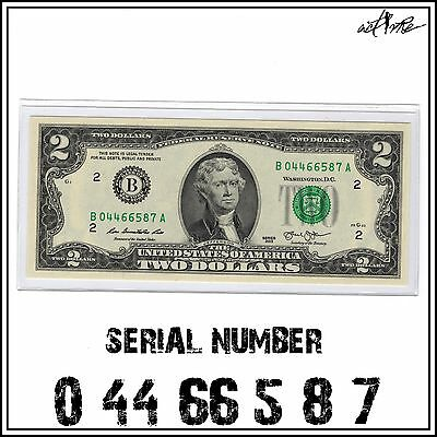 Uncirculated $2 Two Dollar Bill, US Currency FRN Banknote Serial Number Note #