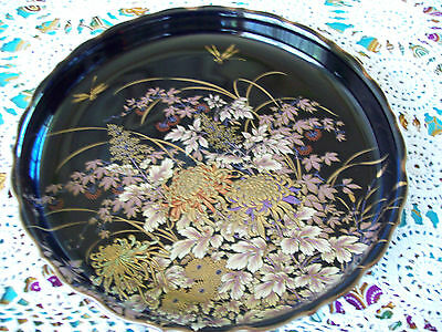 Vintage Japanese Shibata Porcelain Plate with Gold Dragonflies and Flowers.
