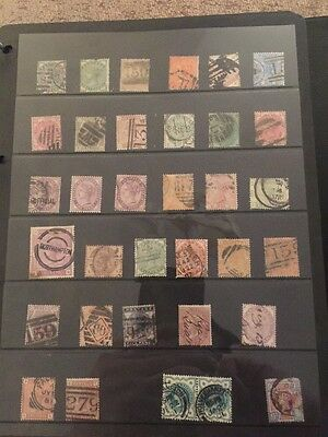 Sheet Of Old Used GB Stamps