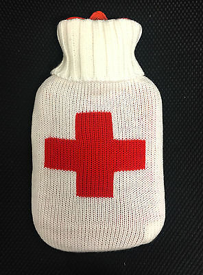 1L Red White Hot Water Bottle with Soft Knitted Case Cross