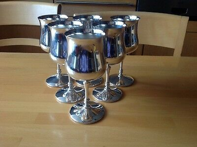 Beautiful Vintage Silver Plated Goblets- Set Of Six
