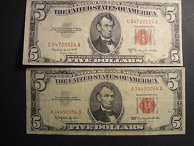 One 1953 And One 1963 $5. Red Seal Notes