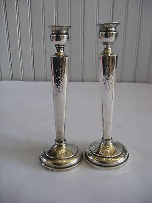 """Vintage Pair Of etched Sterling Candlesticks 7 3/4"""" MONO N + 1 small bud vase 4"""""""