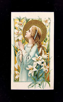 * Antique * Child Mary Holy Card * PRE-LOVED BY A CARMELITE NUN