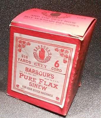 Antique Barbours Pure Flax Sinew For Lock Stitch Machines 6 Cord Grey NIB