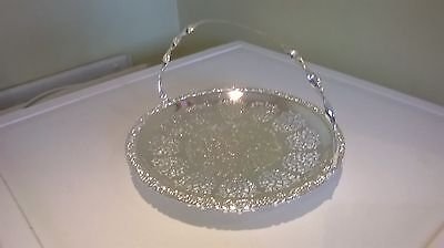 silver plate cake/biscuit basket with folding handle