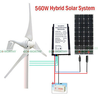 400W Wind Turbine Generator+ Charge Controller +160W Solar Panel for 12V Battery